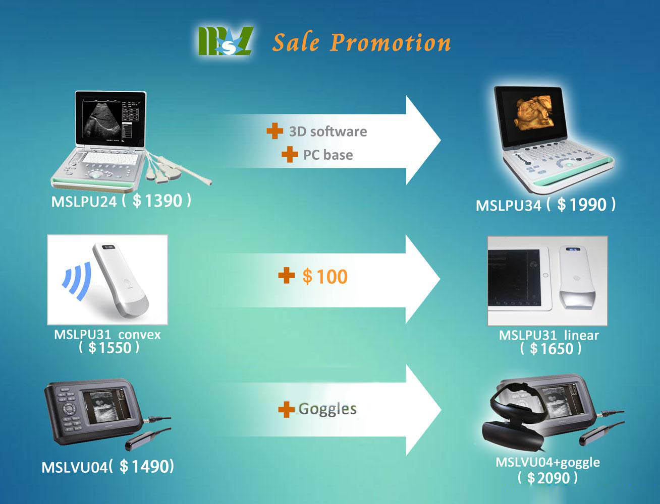 MSL cheap ultrasound machine for sale